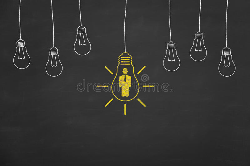 Business Human Resource Idea Concept on Blackboard. Working Conceptual Concept royalty free stock photos