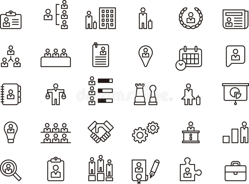 Business, Human Resources & Management icon set royalty free illustration