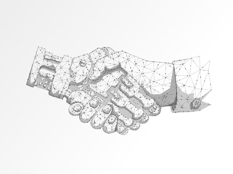 Business human and robot hands shake. Polygonal space low poly with connecting dots and lines. Future wireframe Vector. Business human and robot hands shake stock illustration
