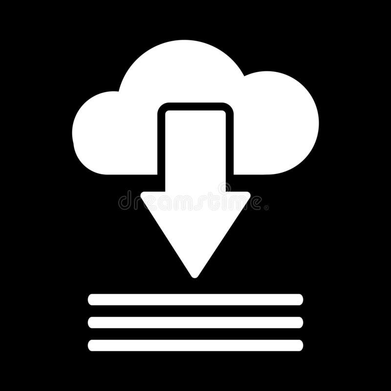 Clouds and arrows pointing down to three straight lines for download concept icons on a black background. And web stock illustration
