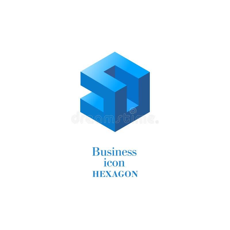 Business icon Hexagon, flat gray polygonal hexagon, geometric design concept vector illustration