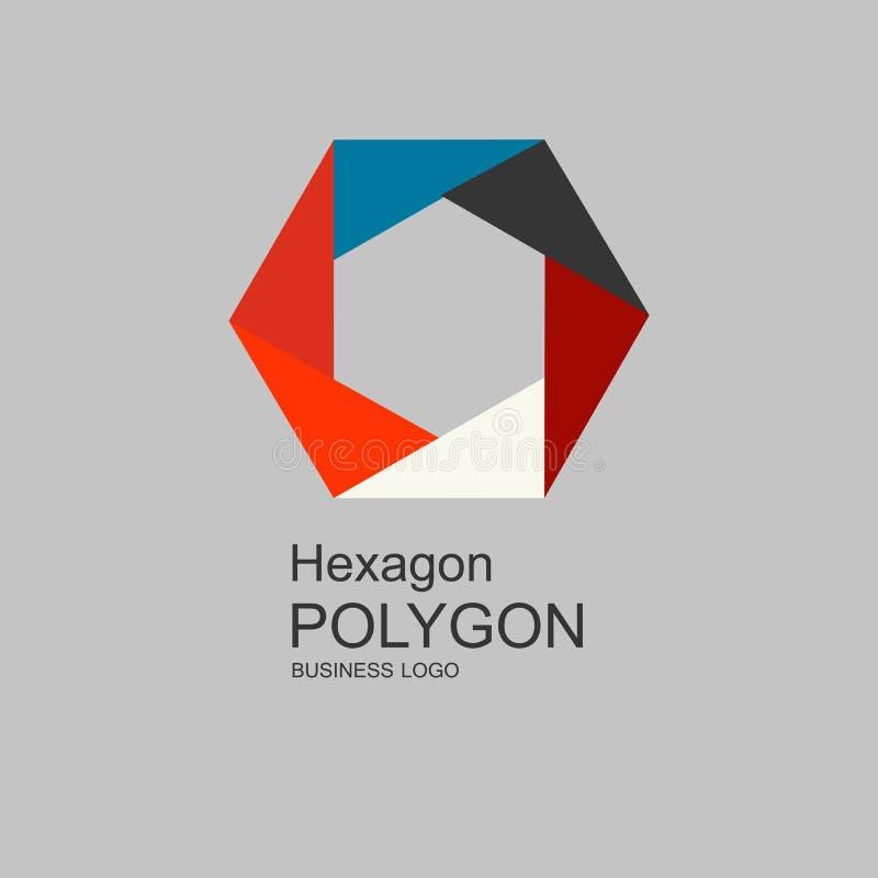 Business icon Hexagon, flat polygonal hexagon, geometric design concept royalty free illustration