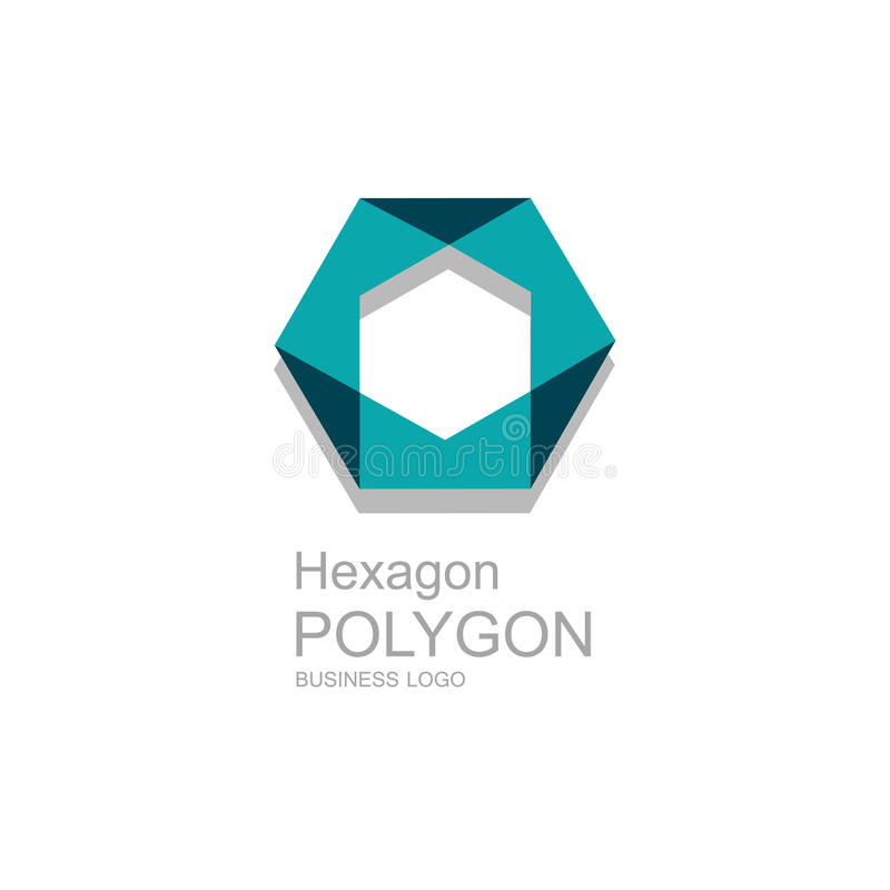 Business icon Hexagon, flat polygonal hexagon, geometric design concept stock illustration