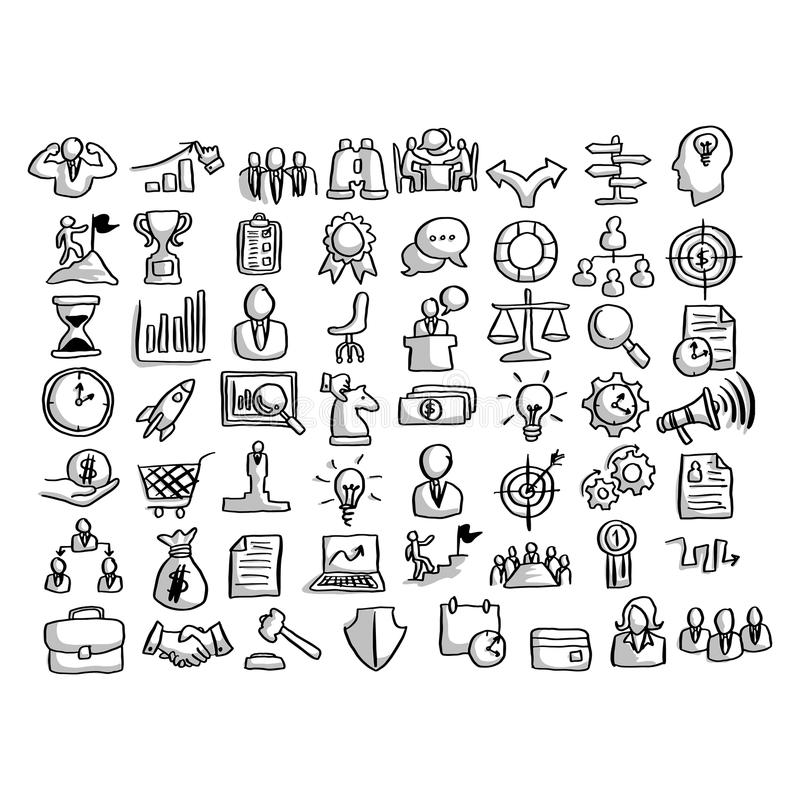 Business icon set with shadow vector illustration sketch hand dr stock illustration