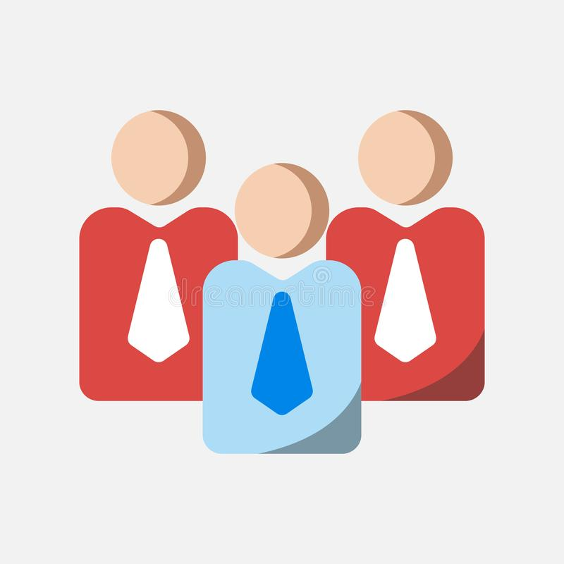Business icon, teamwork and leadership icon in flat design stock illustration
