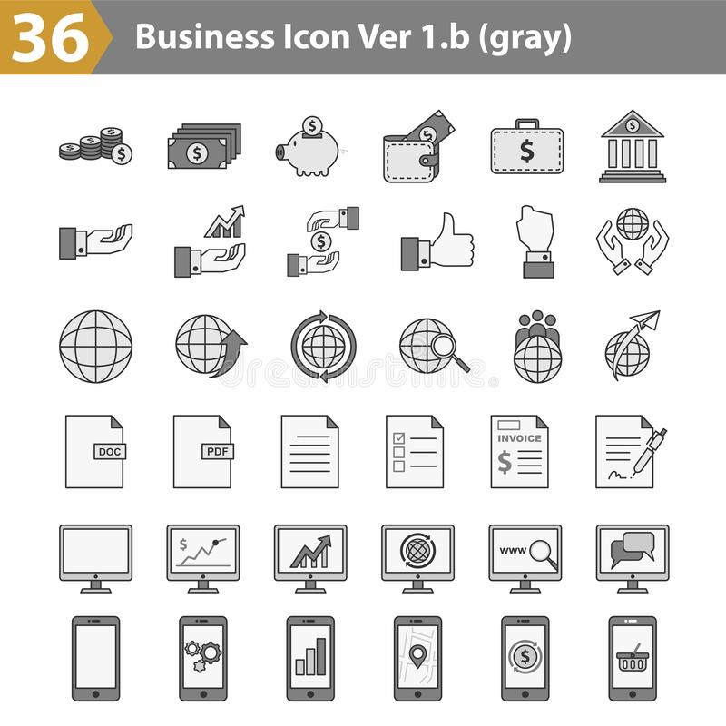 Business icon vector grey version royalty free illustration