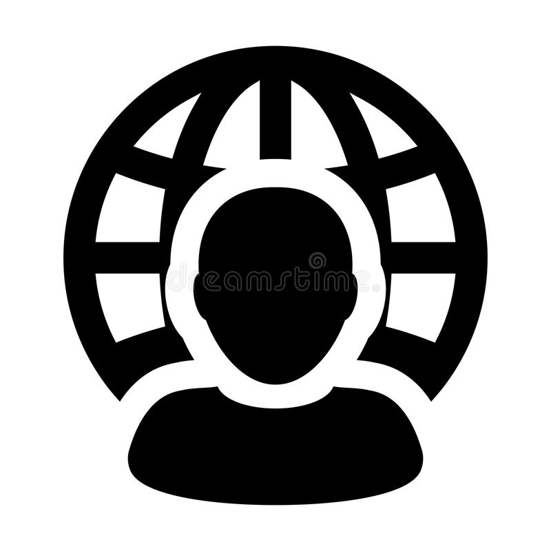 Business Icon Vector Male Person Profile Avatar With Globe Symbol