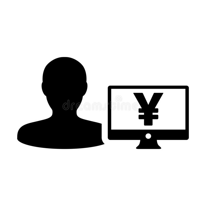 Business icon vector male user person profile avatar with Yen sign and computer monitor currency money symbol for banking. And finance business in flat color stock illustration