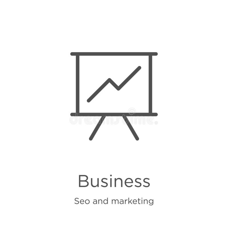 Business icon vector from seo and marketing collection. Thin line business outline icon vector illustration. Outline, thin line. Business icon. Element of seo royalty free illustration