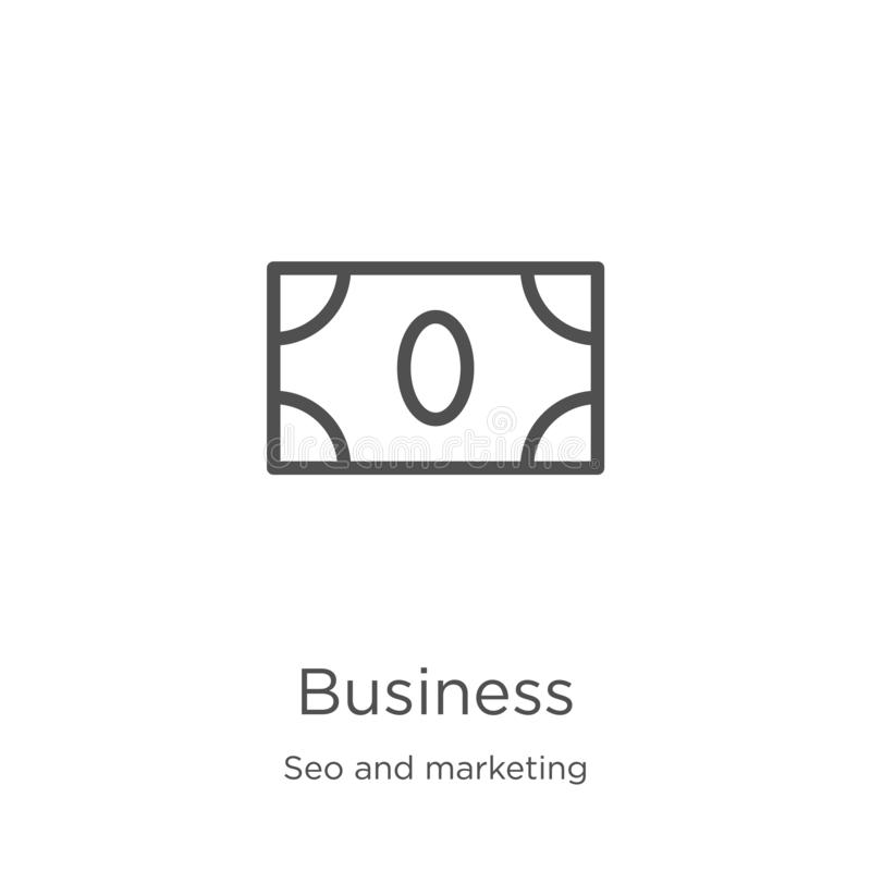 Business icon vector from seo and marketing collection. Thin line business outline icon vector illustration. Outline, thin line. Business icon. Element of seo stock illustration