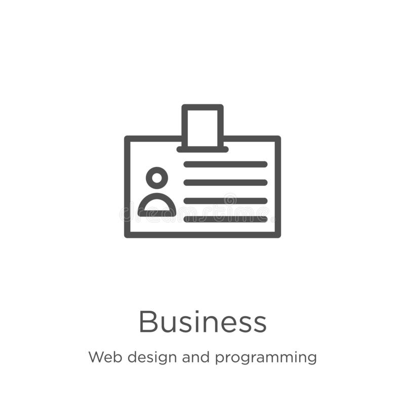 Business icon vector from web design and programming collection. Thin line business outline icon vector illustration. Outline,. Business icon. Element of web vector illustration