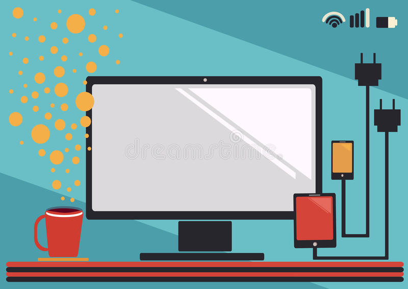 Business icon. Work station business icon illustration concept royalty free illustration