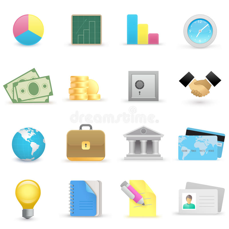 Business icons. On a white background The base map is from royalty free illustration
