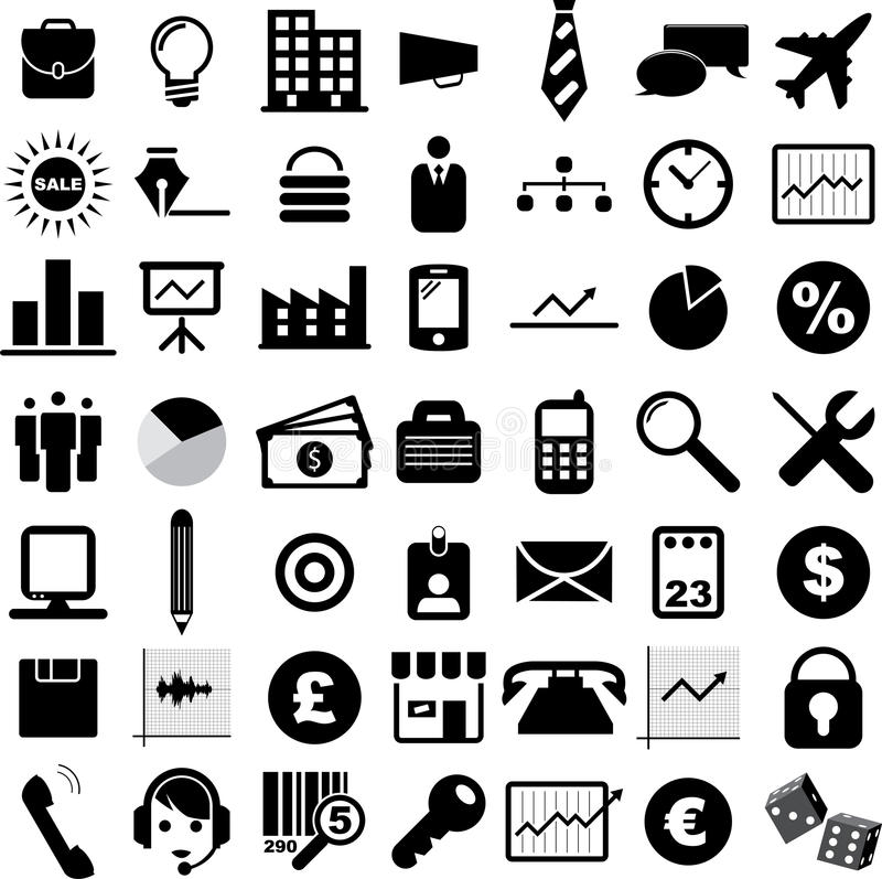 Business Icons. Illustration of black and white business icons