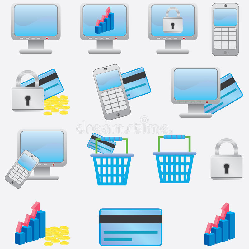 Download Business icons. stock vector. Image of blue, padlock - 26756031