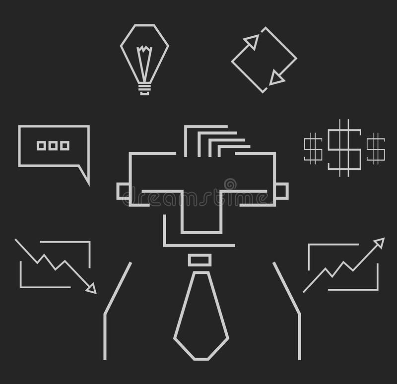 Business icons chalk vector illustration