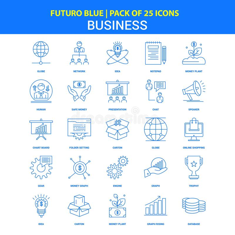 Business Icons - Futuro Blue 25 Icon pack stock illustration