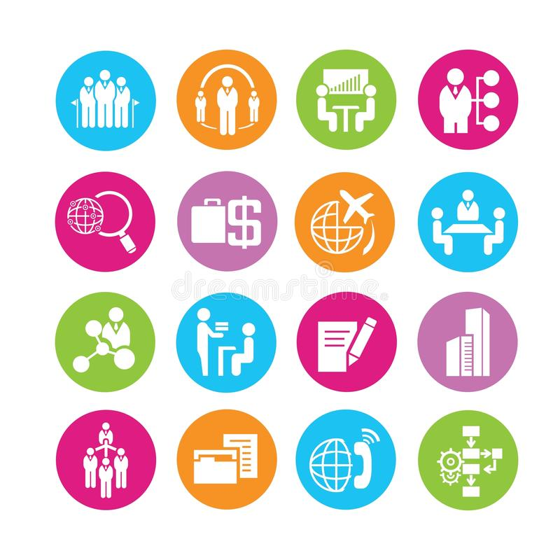 Business icons. Business management icons in colorful round buttons royalty free illustration