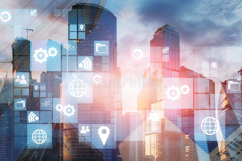 Business icons in modern city stock images