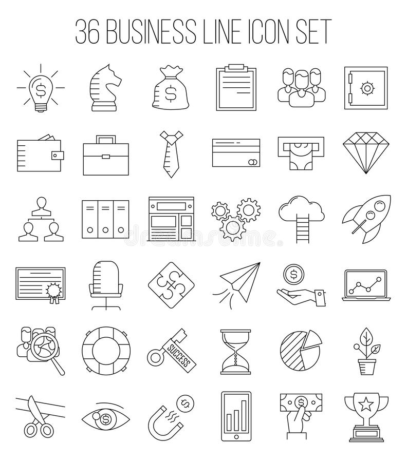 Business icons in modern line style. Business icons. Start up and management signs. Safe, wallet, archive, career ladder, key to success, money magnet and other vector illustration