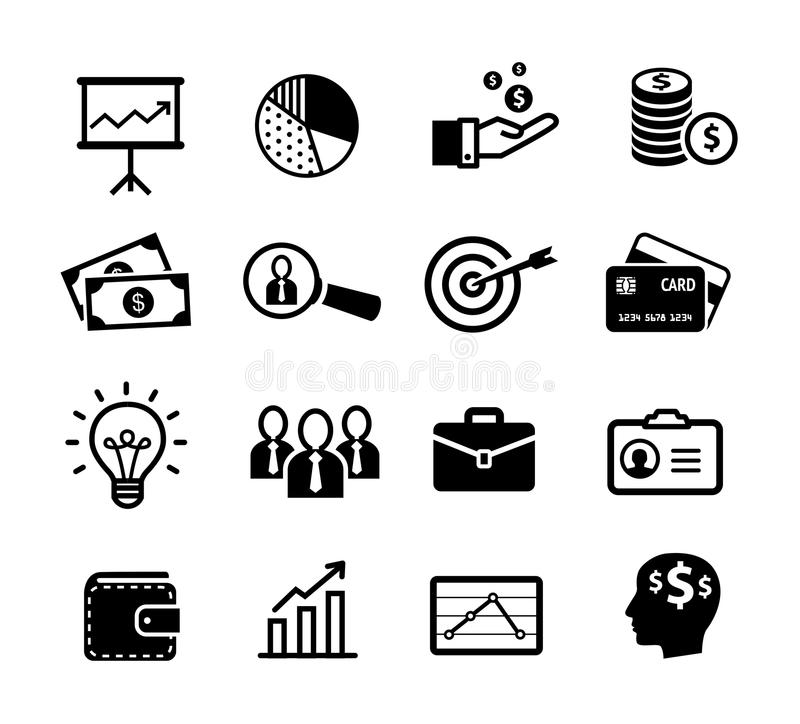 Business icons - productivity, management. Business icons that symbolize productivity, team work, human resources or management stock illustration