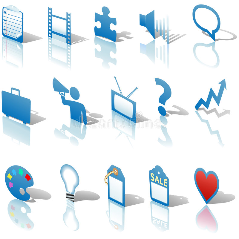 Free Business Icons Reflections Shadows Set 3 Royalty Free Stock Photo - 5888445