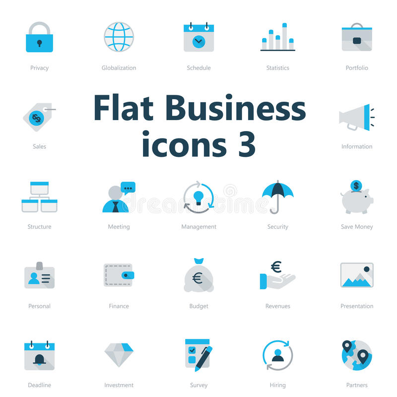 Business icons. Set of blue and grey flat business icons isolated on light background stock illustration