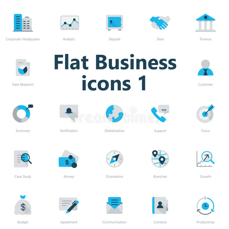 Business icons. Set of blue and grey flat business icons isolated on light background vector illustration