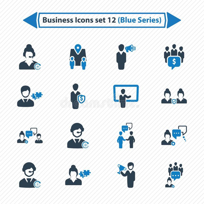 Business Icons Set 12 - Blue Series stock illustration