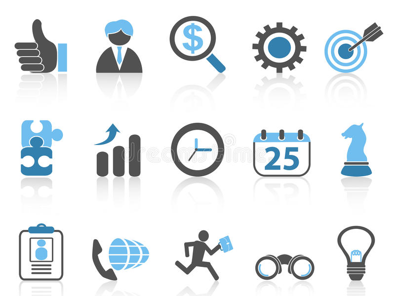 Business icons set,blue series royalty free illustration