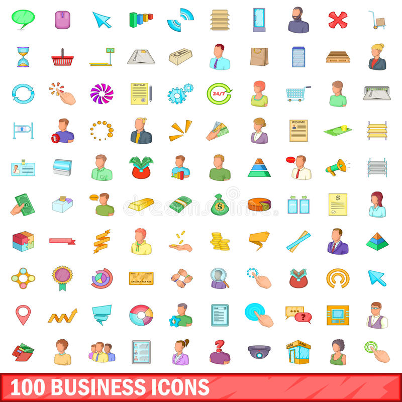 Set Of 100 Business And Finance Icons. Stock Vector