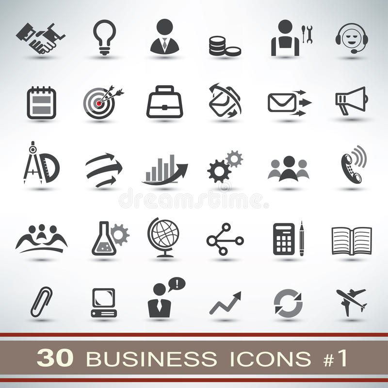 30 business icons set vector illustration