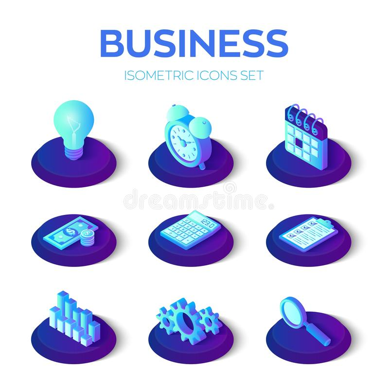 Business icons set. 3D isometric icons for business, management, finance, strategy, marketing. Creative idea, checklist, time royalty free illustration