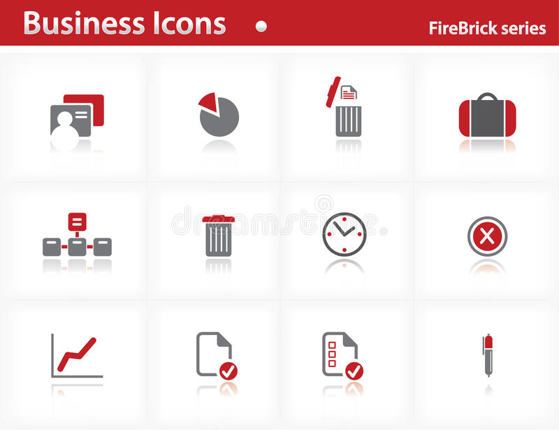 Business icons set - Firebrick Series royalty free illustration
