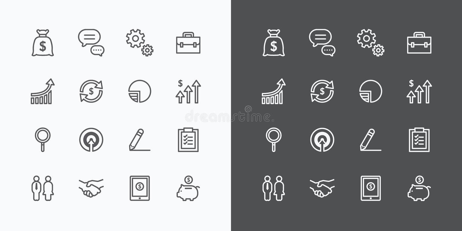 Business icons set. flat line design vector for Web and Mobile vector illustration