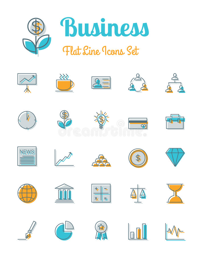 Business icons set flat line style. Vector business icons set flat line style vector illustration