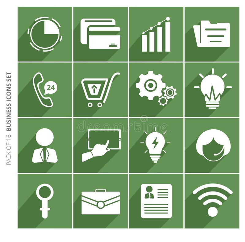 Business icons set with shadow in trendy flat style isolated on color background. royalty free illustration