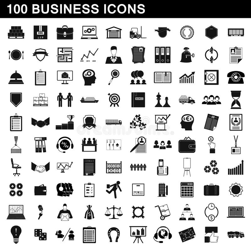 100 business icons set, simple style vector illustration