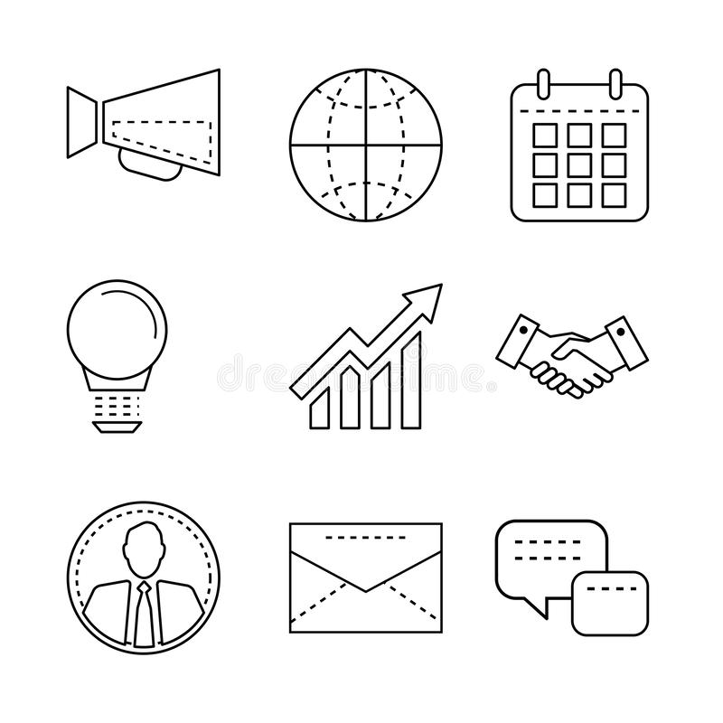 Business icons set with thin line elements for mobile, web apps, infographic and design royalty free illustration