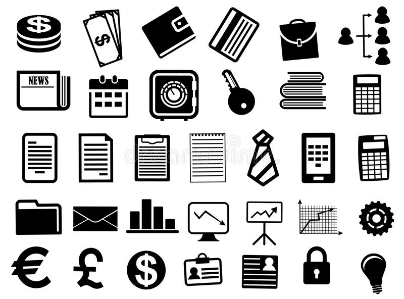 Business Icons And Symbols In Flat Style Stock Vector Illustration