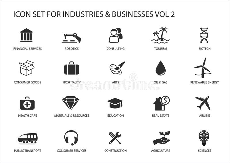 Business icons and symbols of various industries / business sectors like consulting,tourism,hospitality,agriculture. Renewable energy,real estate,consumer stock illustration