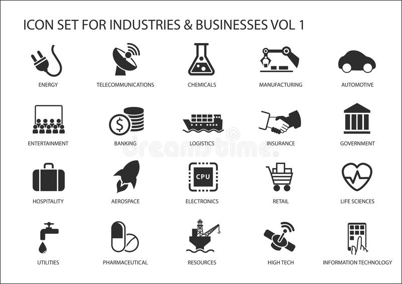 Business icons and symbols of various industries / business sectors like financial services industry, automotive, life sciences stock illustration