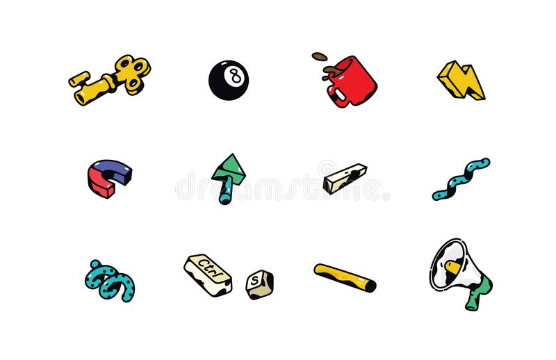 Vector business icons on office theme. Badges for badges. Logos, badges for the company`s corporate identity. royalty free illustration