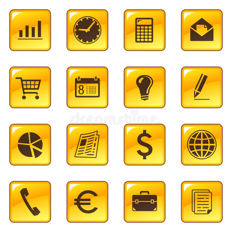 Business icons on web buttons vector illustration