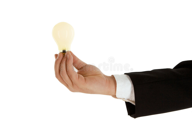 Business idea. Business man with a bulb, symbolism of business idea stock image