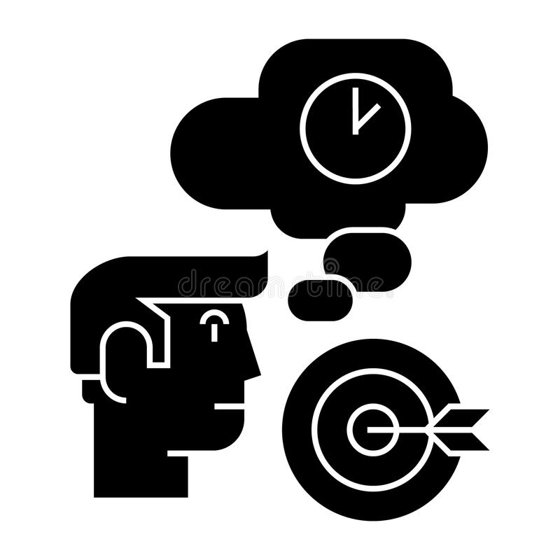 Business idea - brainstorm - target goal, lamp, time, thinking icon, vector illustration, black sign on isolated royalty free illustration