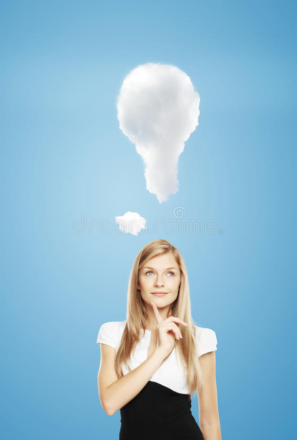 Business idea. Businesswoman thinking on business idea stock images