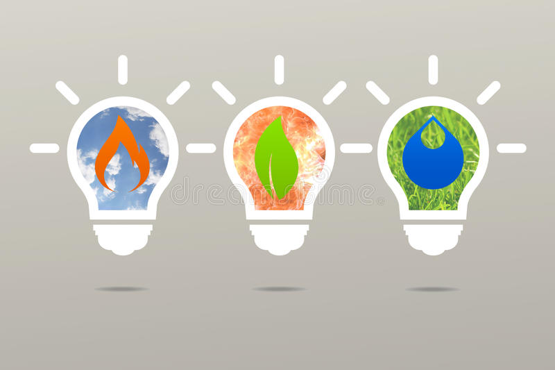 Business idea clean energy lamp nature stock illustration