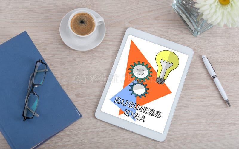 Business idea concept on a digital tablet. Top view of a desk with business idea concept on a digital tablet stock photos