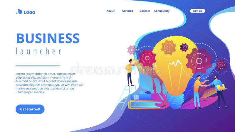 Business idea concept landing page. Businessmen handshake and big bulb with rotating gears. Business idea, business launcher and development, business plan vector illustration